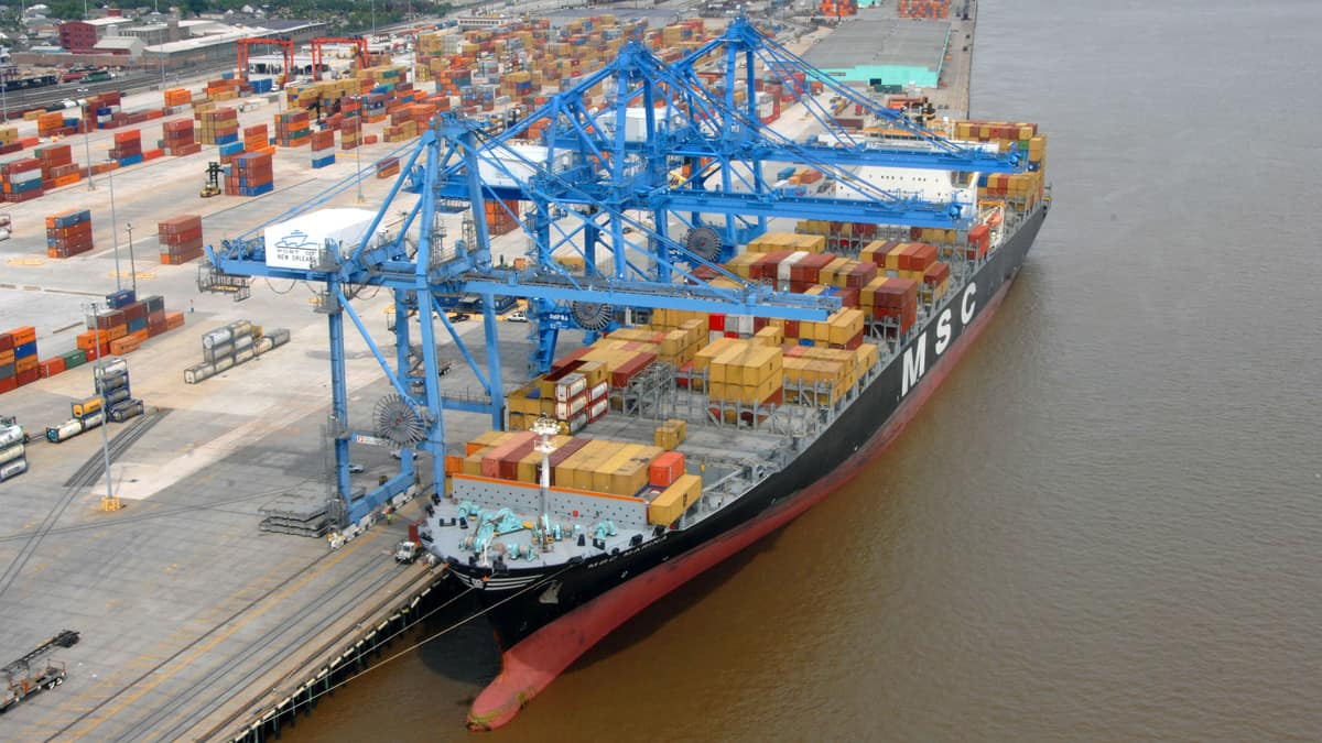 Container ship is unloaded at the Port of New Orleans.