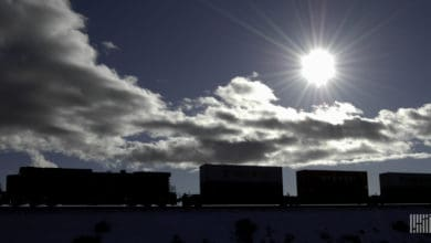 A photograph of a train carrying intermodal containers across a field. The sun is bright in the sky above the train.