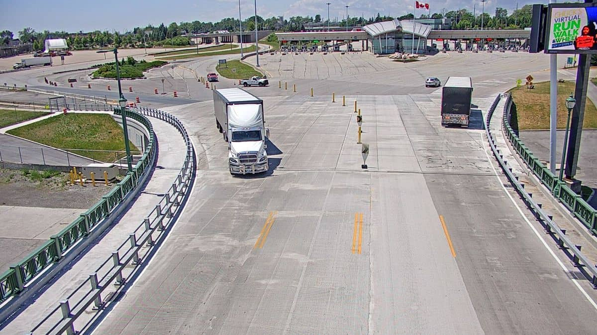 A view of the US-Canada border. Canada's Fastfrate has big plans for new cross-border trucking business.