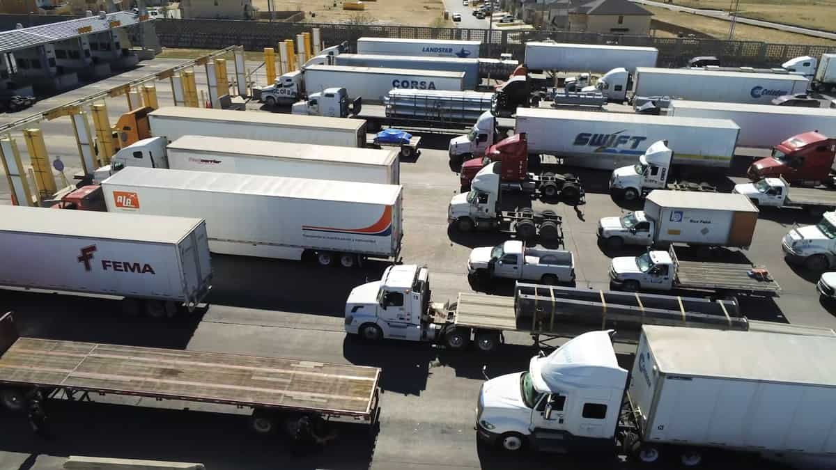 Trucks lined up for inspection at the U.S.-Mexico border at the Port of Laredo. The U.S. land borders with Mexico and Canada will remain closed for non-essential travel through Dec. 21.