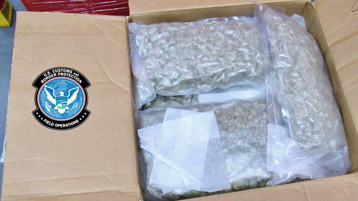 A cardboard box filled with sealed bags of marijuana, seized by US border agents in the latest major marijuana bust at the Canadian border