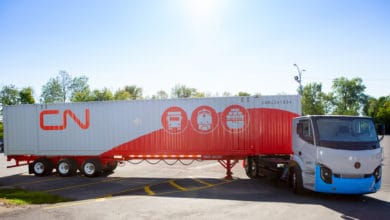 A Lion Electric Lion 8 electric truck with a CN intermodal trailer. CN has ordered 50 of the electric trucks.