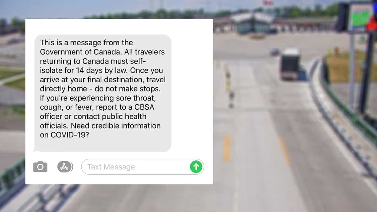 An image of a fake text message that tells recipients, including truckers, to self isolate for 14 days and includes a suspicious link.
