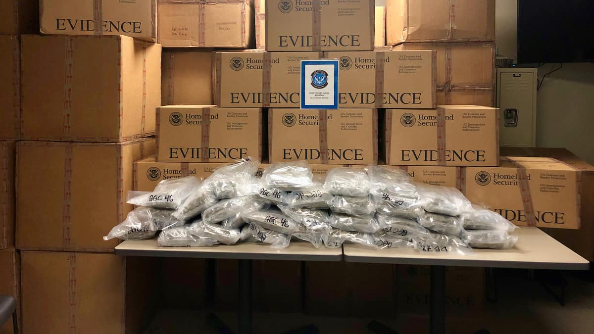 Boxes of marijuana found in a Canadian truck by U.S. Customs and Border Protection officers at the US-Canada border.