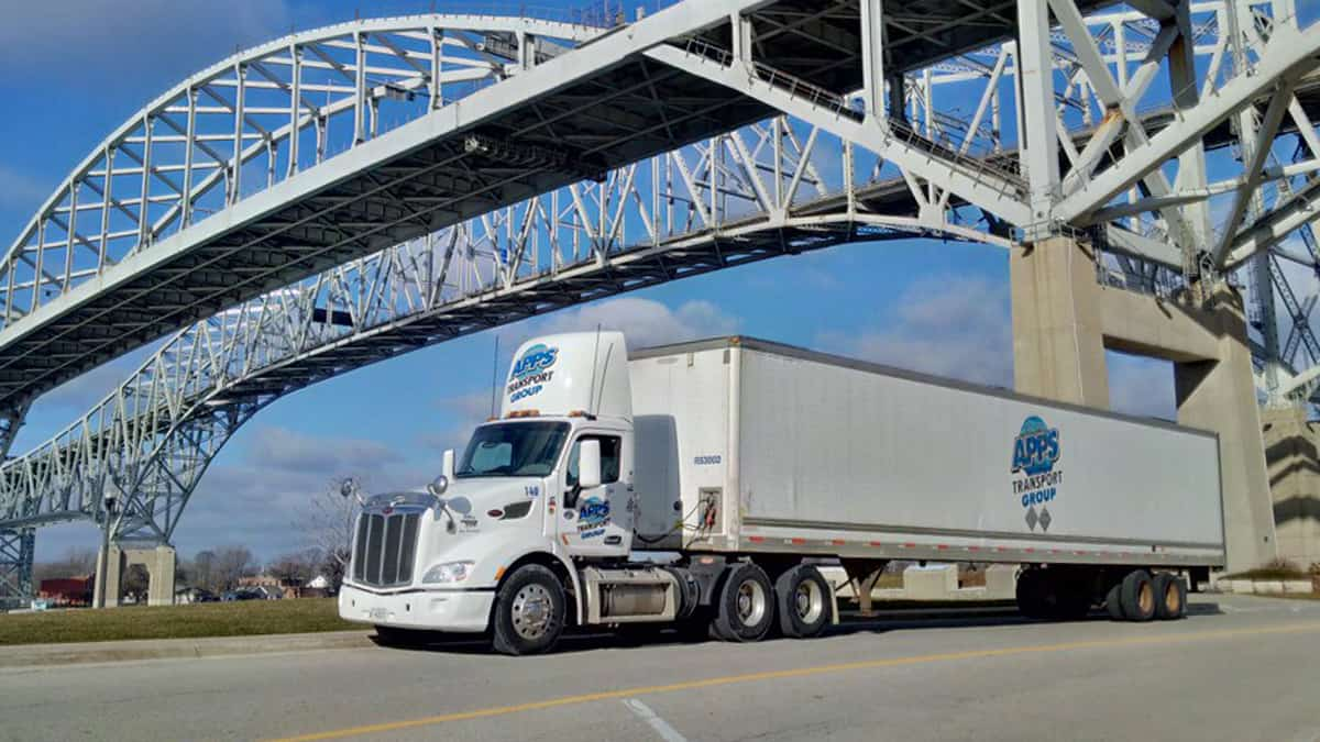 A tractor-trailer of APPS Transport Group. TFI International is acquiring APPS.