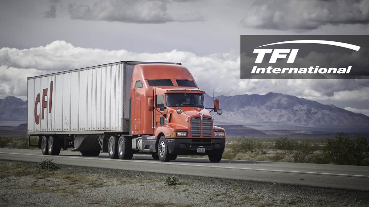 A tractor-trailer from TFI International-owned carrier CFI travels on a road. TFI raised nearly $219 million in a share offering, which could allow it to make additional acquisitions.