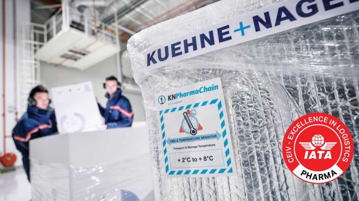Temperature markings on a biopharma cold pack in warehouse operated by Kuehne+Nagel.