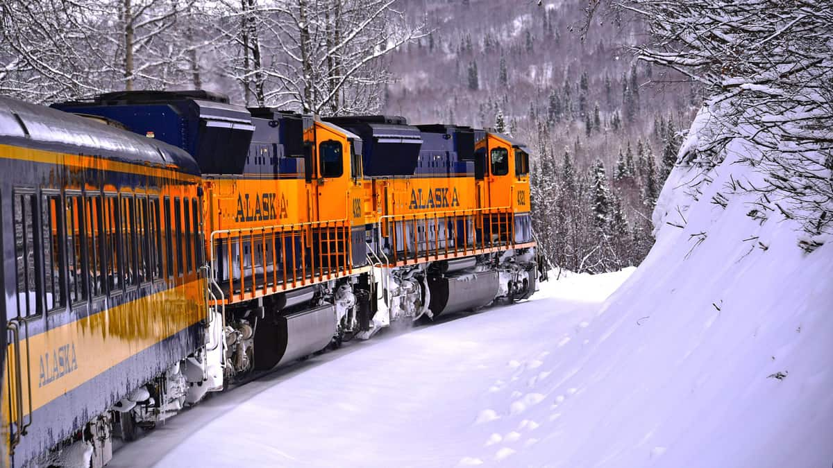 A photograph of a train traveling through a snowy forest.