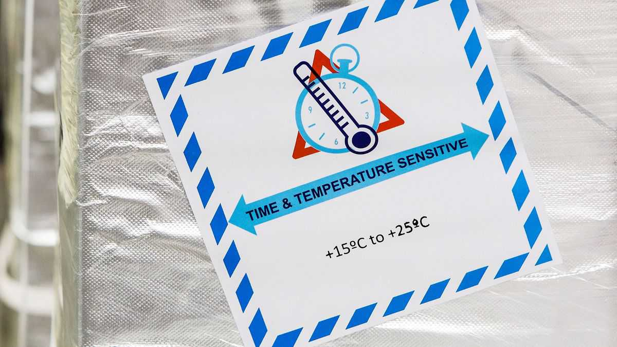 A label for pharmaceutical shipment showing a thermometer and the temperature range needed for the product. Cold chain logistics will be critical for delivery of coronavirus vaccines.