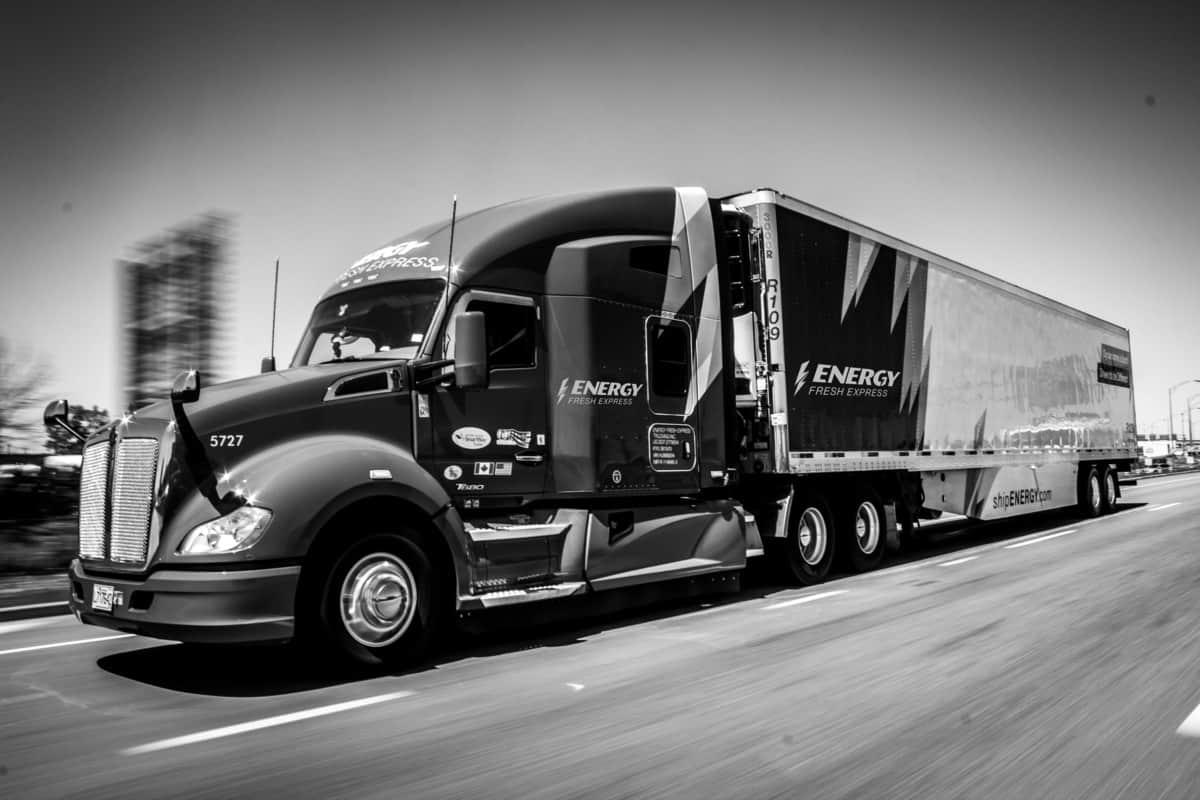 ENERGY Transportation truck in black and white
