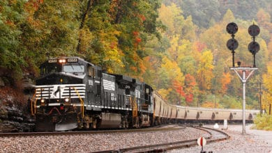 A photograph of a Norfolk Southern train passing by some autumn trees.