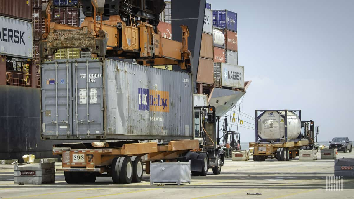 Container loaded on chassis