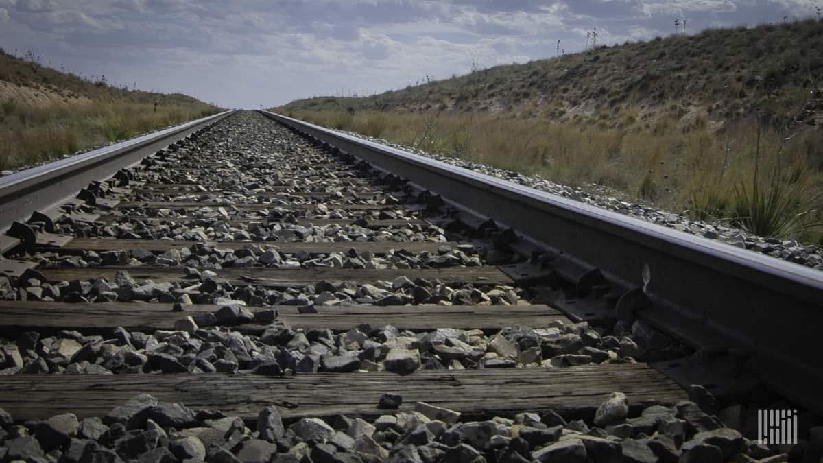 A photograph of some railroad track.