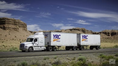 YRC rig on highway