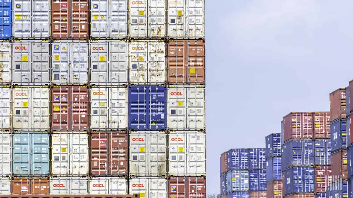 Containers stacked at a port. Descartes Systems reported a jump in Q2 profits on higher demand for supply chain software products.