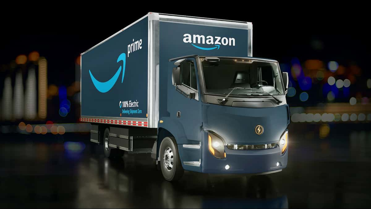 A rendering of a Lion Electric truck with an Amazon logo. Lion, a Canadian EV (electric vehicle) producer, plans to deliver its first trucks in October.