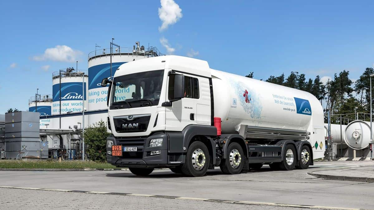 White trucks and storage tanks for liquified gases.