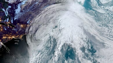 A satellite image of Teddy, a post-tropical storm that hit the Canadian province of Nova Scotia.
