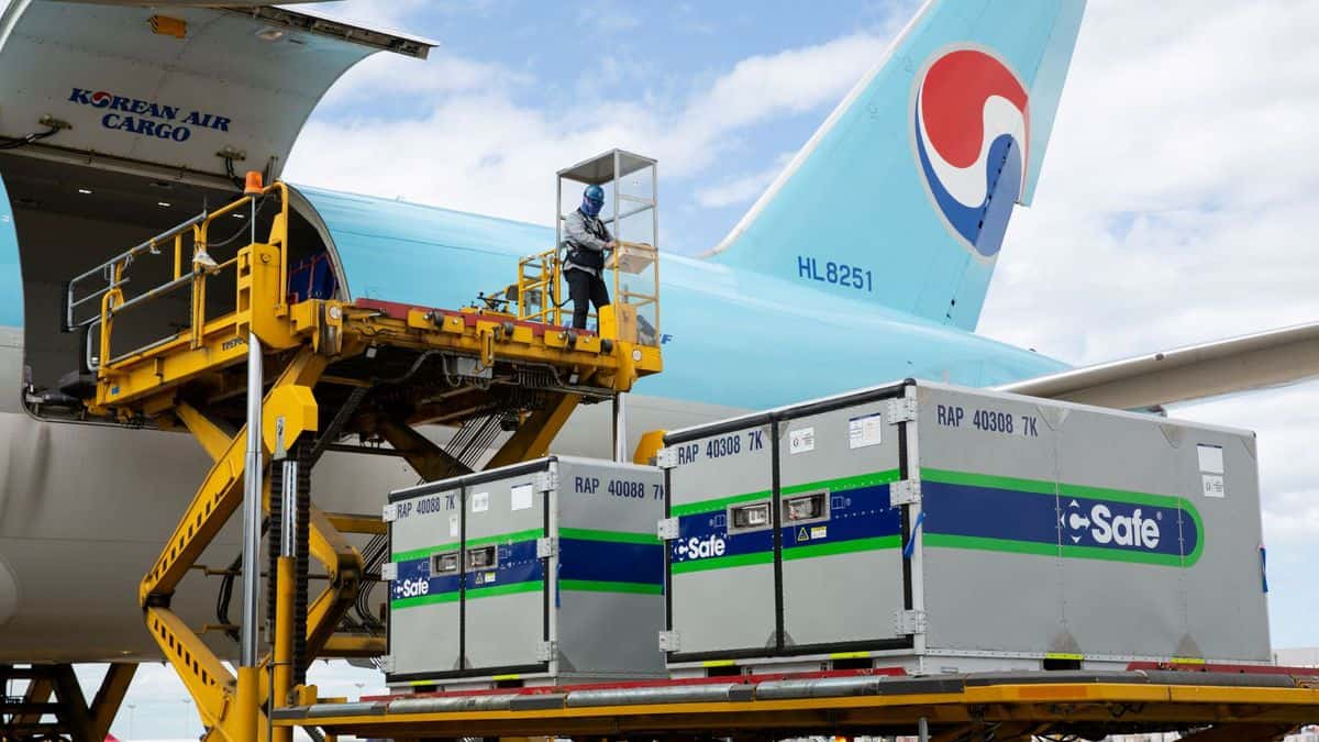 Refrigerated containers get lifted onto a light blue cargo plane for Korean Air.