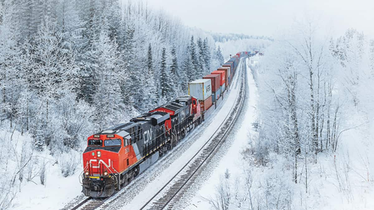 A photograph of a CN train passing through a snow-filled forest.