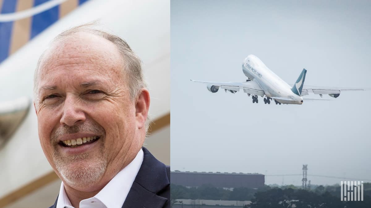 Head shot of air cargo industry official Michael White and a plane taking off next to him.