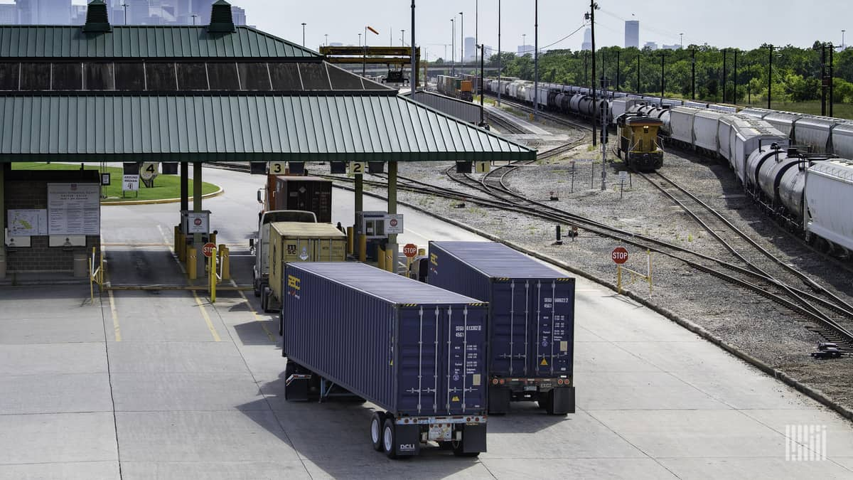 Containers on trucks