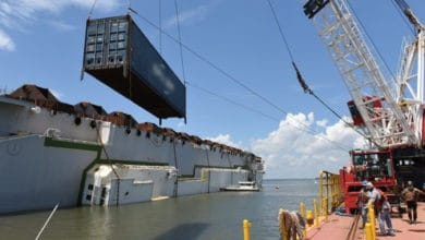 Photo of Golden Ray dismantling equipment arrives in St. Simons Sound