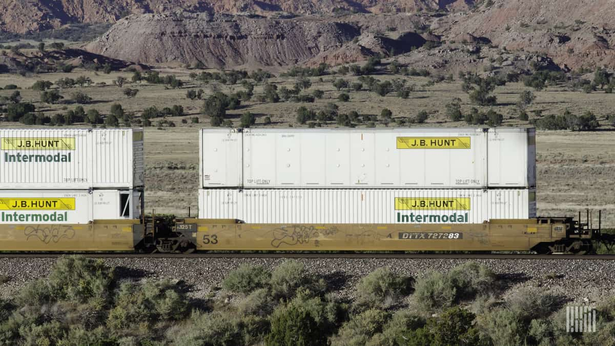 J.B. Hunt intermodal containers on railcars