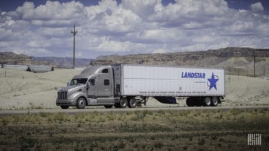Landstar trailer on highway