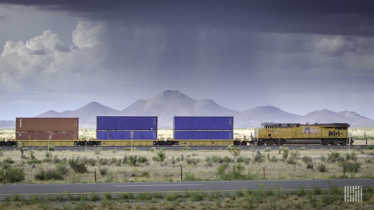 A photograph of a Union Pacific train crossing a desert field.