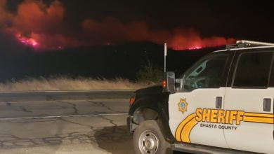 Shasta County Sheriff patrol car near the Zogg Fire in Northern California.