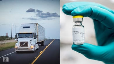 A truck and a COVID-19 vaccine vile to illustrate a story about the Canadian government seeking logistics providers to distribute COVID-19 vaccines.