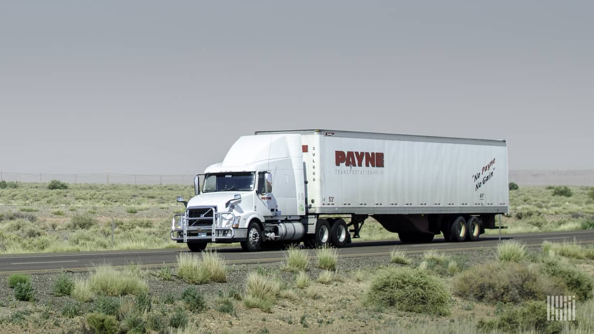 A tractor-trailer of Mullen Group carrier Payne Transportation. Mullen reported Q3 financial results.