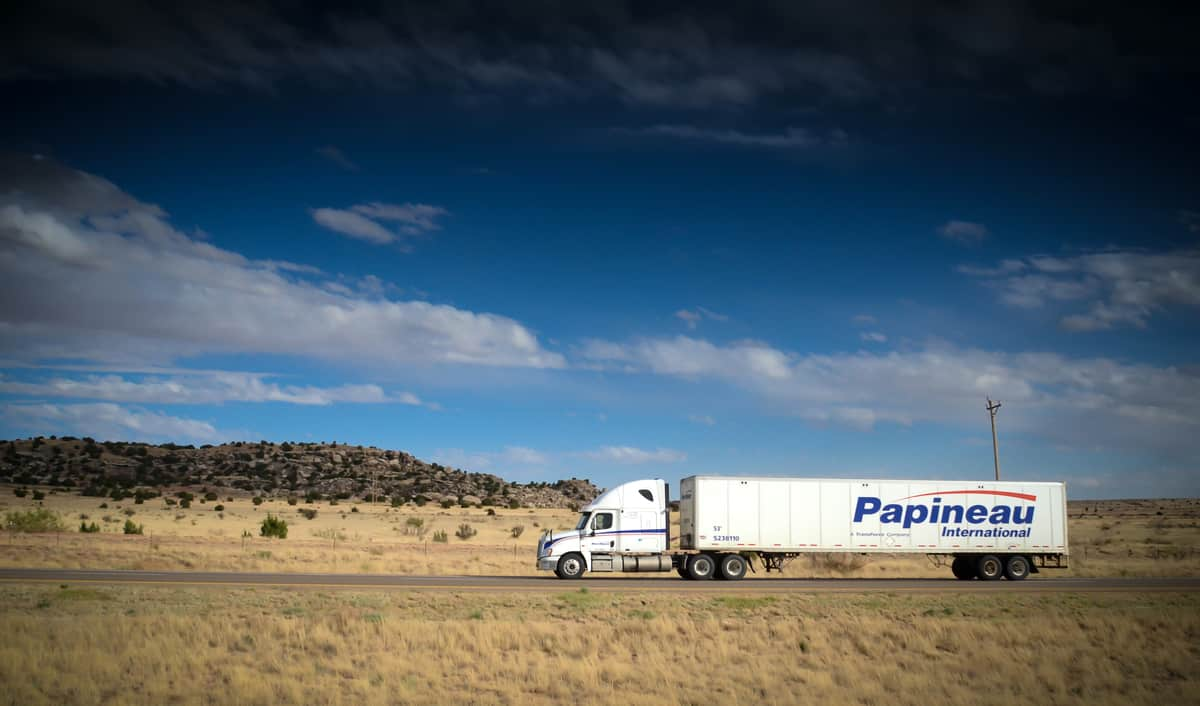 A tractor-trailer of TFI International carrier Papineau International. TFI said it pulled out of an acquisition of APPS Transport.
