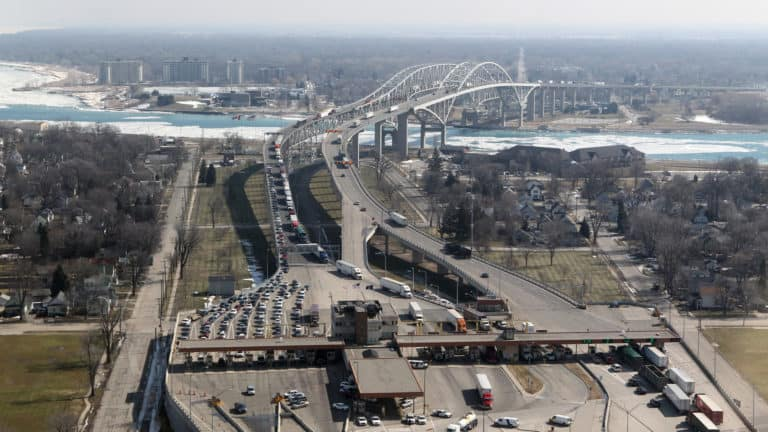 The Blue Water Bridge border crossing linking the US and Canada. The US land borders with Canada and Mexico will remain closed for nonessential travel until Nov. 21