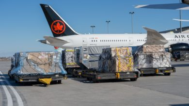 View from tarmac, rear sideview of white jet with dark red tail, Air Canada, on sunny day. Pallets of cargo sit in the foreground waiting to be loaded.