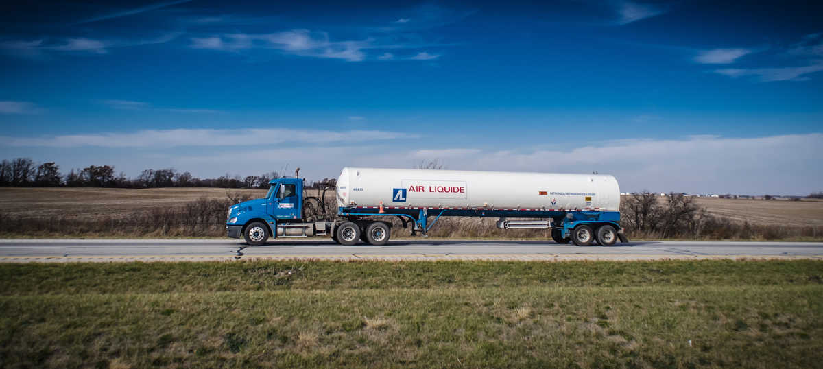 An Air Liquide tanker carries its cargo to a customer.