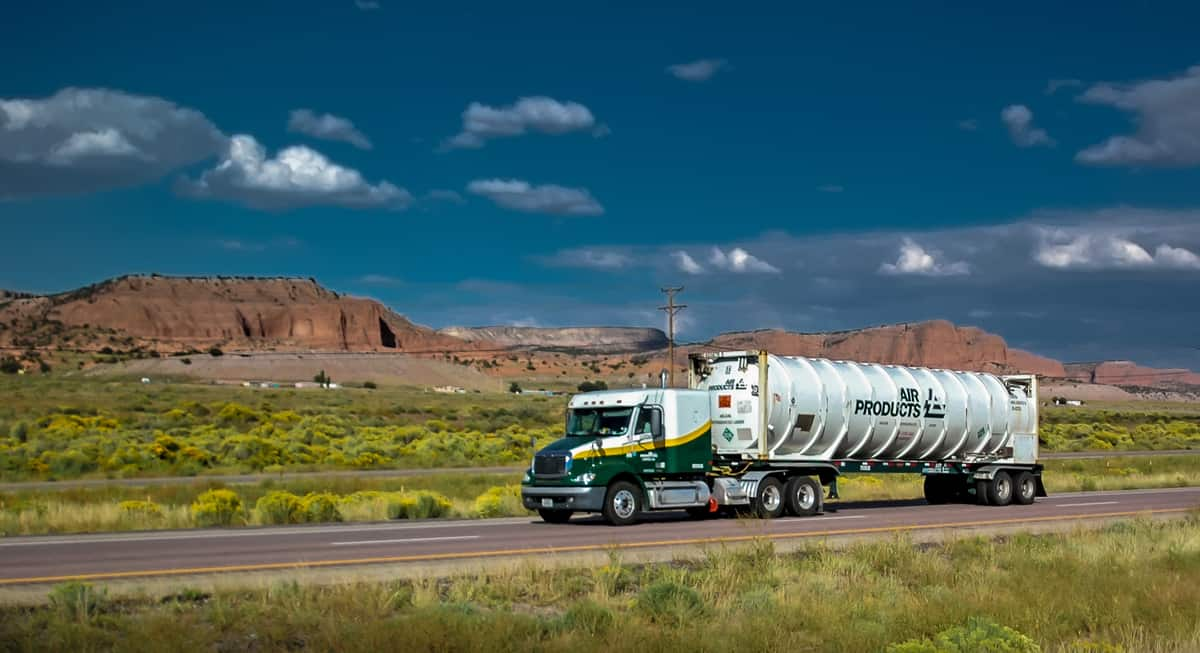 An Air Products tractor-tanker on the move.