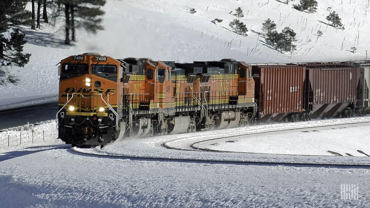 A photograph of a BNSF train traveling through a snowy landscape.