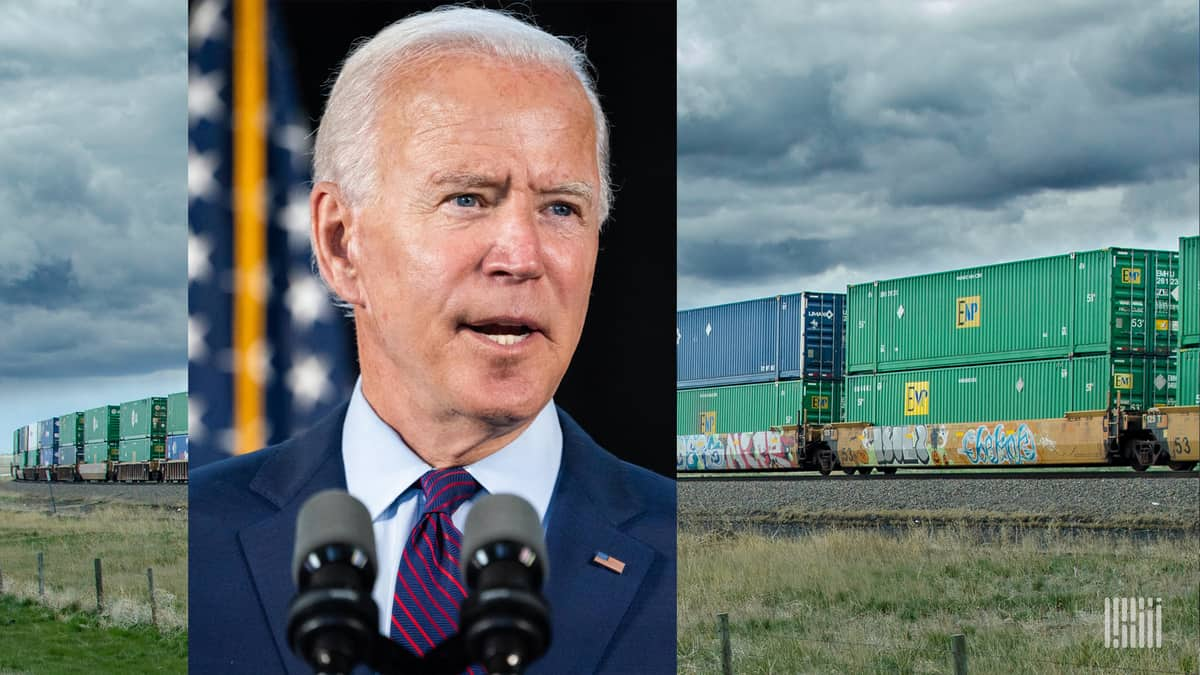 Two photographs. A photo of Joe Biden is on top of a photo of a freight rail train.