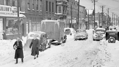 Cleveland, Ohio frozen during the Great Appalachian Storm of 1950.