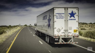 Landstar truck on highway