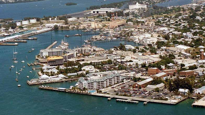 Aerial photo of the Mallory Docks at the Port of Key West.