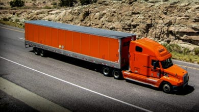 Schneider truck on highway
