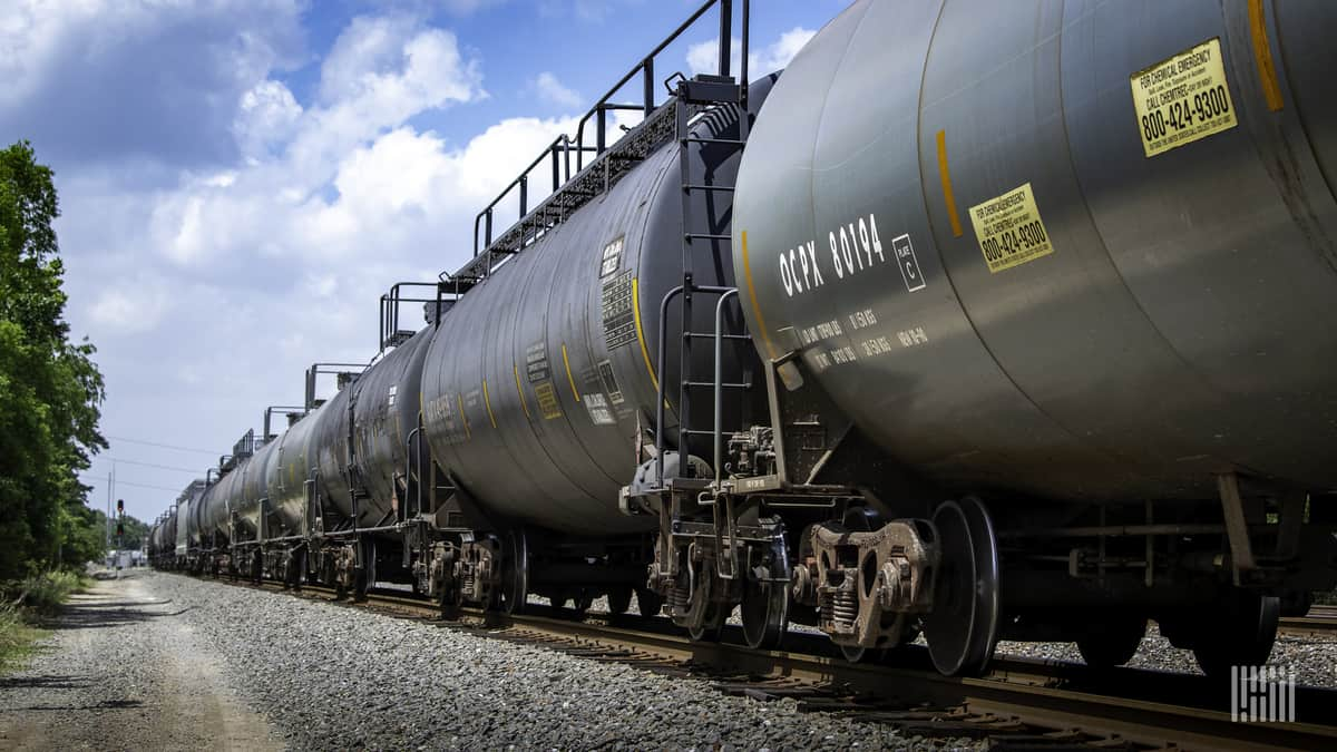 A photograph of a train of tank cars.