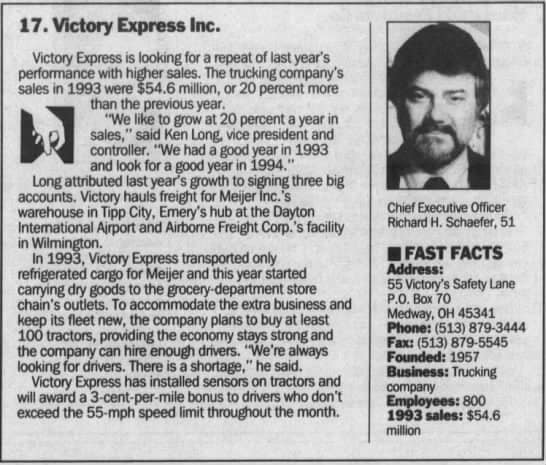 Newspaper clipping profiling Victory Express.