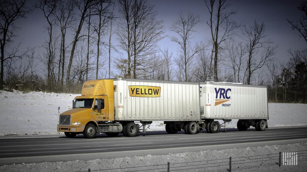 Yellow and YRC Freight trailers on highway