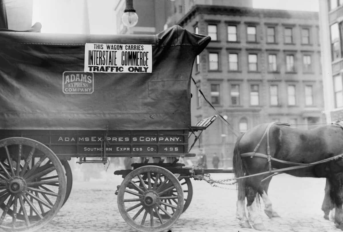This image has an empty alt attribute; its file name is horse-wagon-Interstate-Commerce-Traffic-Only-1900-britannica.jpg
