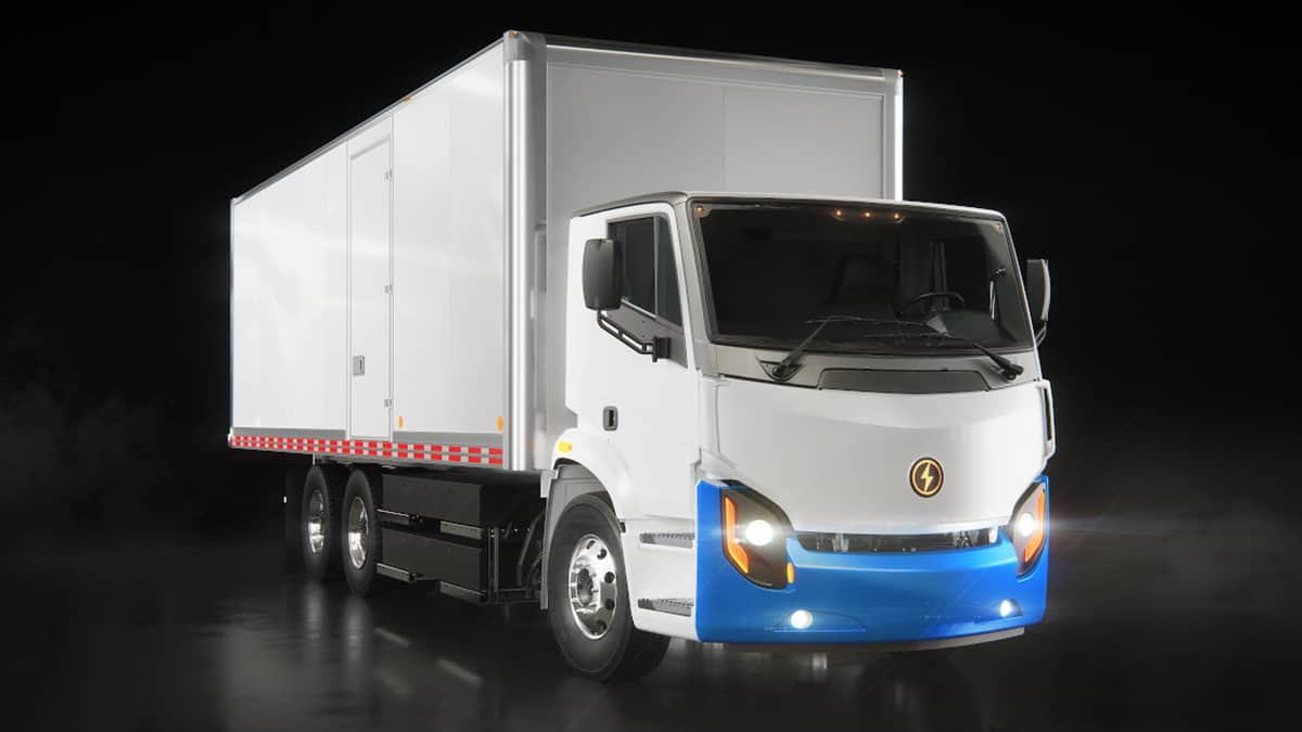 A Lion Electric battery-powered truck seen from the front. Lion Electric is going public via a SPAC merger.