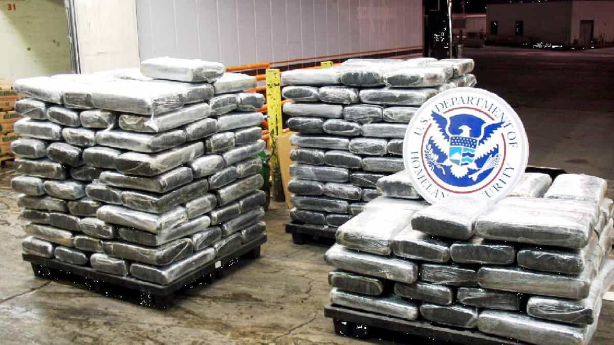 Palates of marijuana seized by CBP officers. A trucker was arrested at the US Canada border after marijuana was found in a shipment of pork